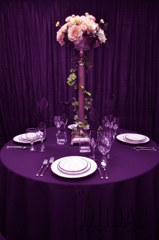 "Linens - 84"" Square - 84"" x 84"" square Table Linen EGGPLANT"