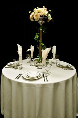 "84"" Round Table Linen IVORY"